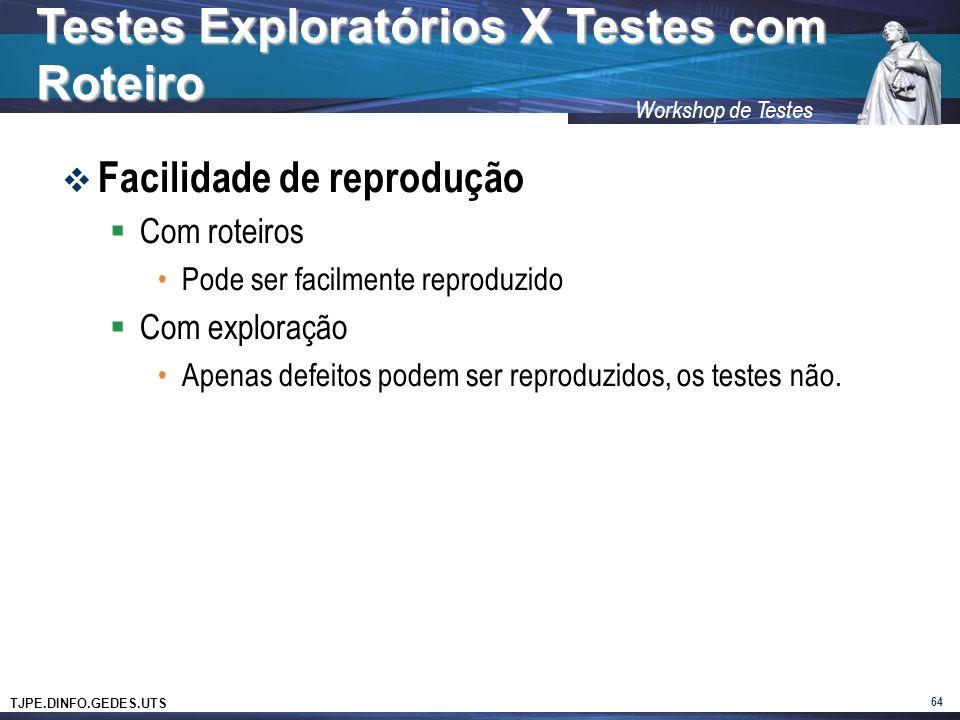 TJPE.DINFO.GEDES.UTS Workshop de Testes Facilidade de reprodução Com roteiros Pode ser facilmente reproduzido Com exploração Apenas defeitos podem ser reproduzidos, os testes não.