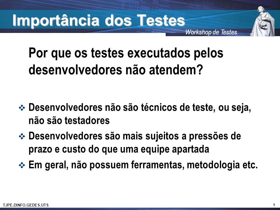 TJPE.DINFO.GEDES.UTS Workshop de Testes Importância dos Testes Quanto mais crítico for o software Mais testes serão gastos para o controle da qualidade do produto 10 Logo, quem define a quantidade de testes é a criticidade do negócio