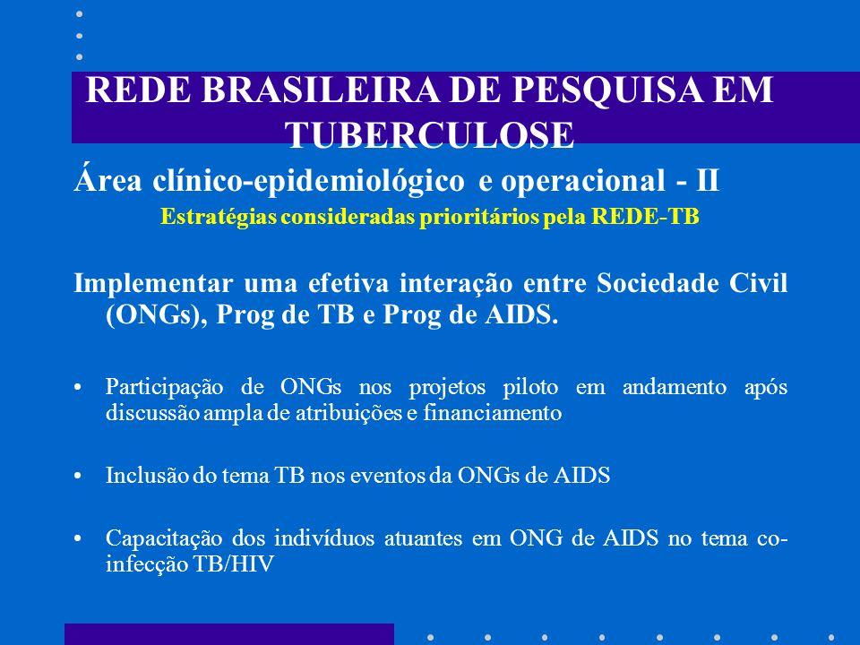 REDE BRASILEIRA DE PESQUISA EM TUBERCULOSE Área clínico-epidemiológico e operacional - II Estratégias consideradas prioritários pela REDE-TB Implement