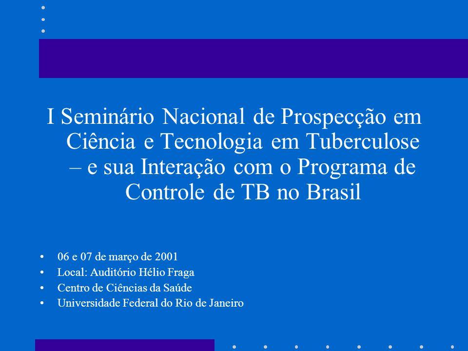 I Seminário Nacional de Prospecção em Ciência e Tecnologia em Tuberculose – e sua Interação com o Programa de Controle de TB no Brasil 06 e 07 de març