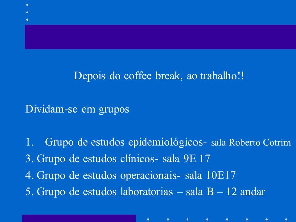 Depois do coffee break, ao trabalho!! Dividam-se em grupos 1.Grupo de estudos epidemiológicos- sala Roberto Cotrim 3. Grupo de estudos clínicos- sala