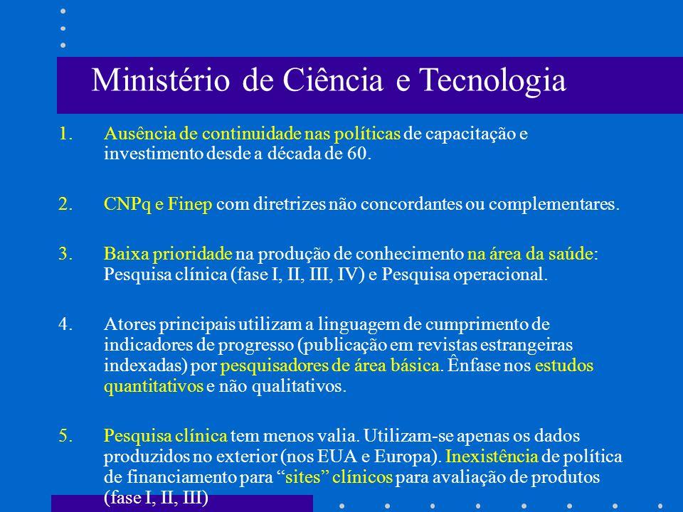 1.Ausência de continuidade nas políticas de capacitação e investimento desde a década de 60. 2.CNPq e Finep com diretrizes não concordantes ou complem