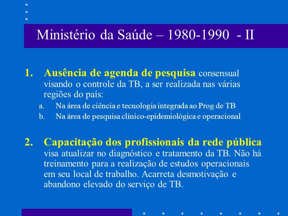 1.Ausência de agenda de pesquisa consensual visando o controle da TB, a ser realizada nas várias regiões do país: a.Na área de ciência e tecnologia in