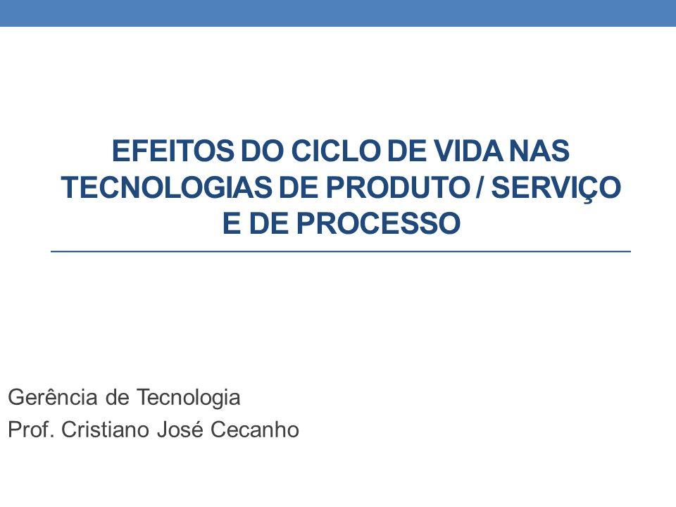 EFEITOS DO CICLO DE VIDA NAS TECNOLOGIAS DE PRODUTO / SERVIÇO E DE PROCESSO Gerência de Tecnologia Prof.