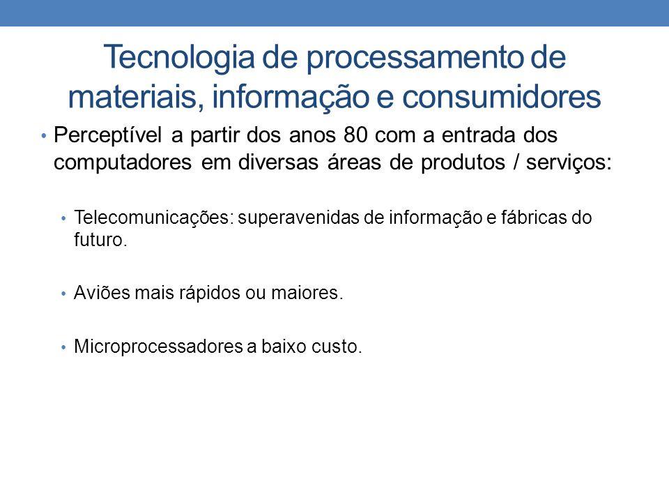 Tecnologia de processamento de materiais, informação e consumidores Perceptível a partir dos anos 80 com a entrada dos computadores em diversas áreas de produtos / serviços: Telecomunicações: superavenidas de informação e fábricas do futuro.