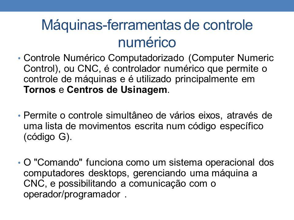 Máquinas-ferramentas de controle numérico Controle Numérico Computadorizado (Computer Numeric Control), ou CNC, é controlador numérico que permite o controle de máquinas e é utilizado principalmente em Tornos e Centros de Usinagem.