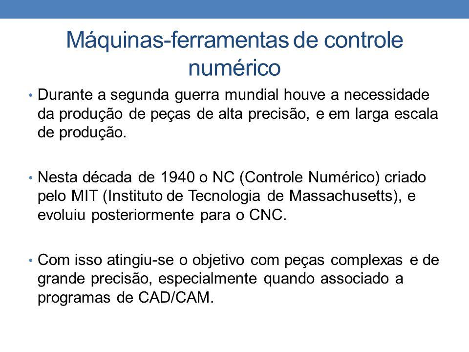 Máquinas-ferramentas de controle numérico Durante a segunda guerra mundial houve a necessidade da produção de peças de alta precisão, e em larga escala de produção.