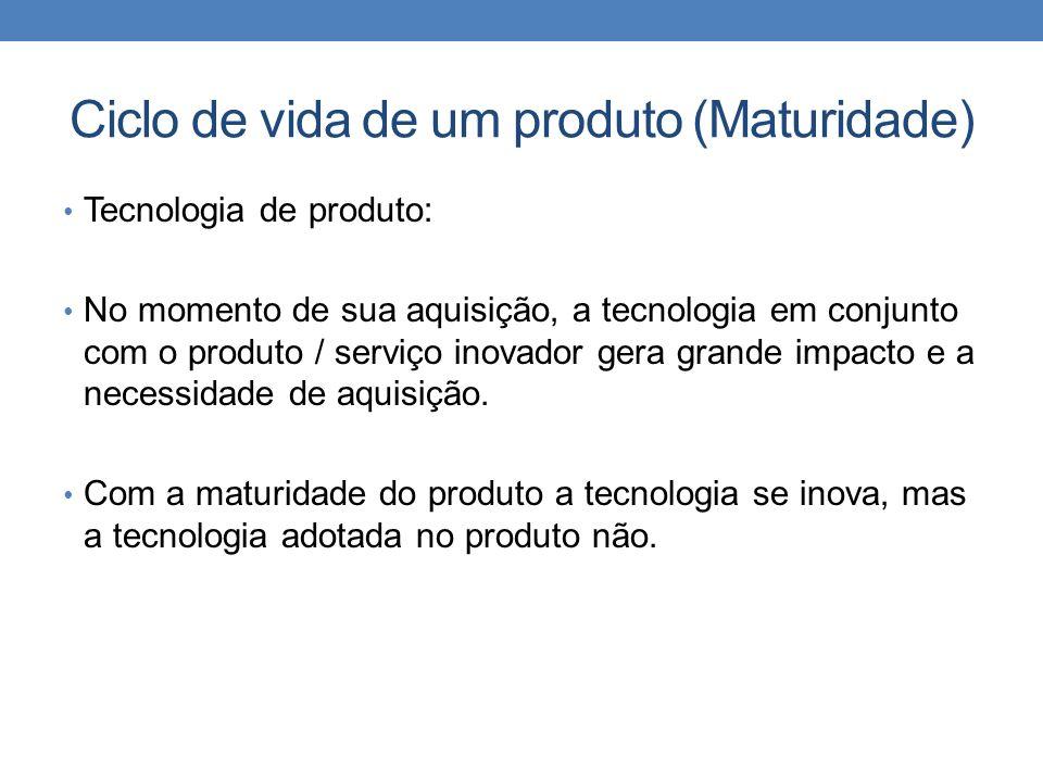 Ciclo de vida de um produto (Maturidade) Tecnologia de produto: No momento de sua aquisição, a tecnologia em conjunto com o produto / serviço inovador gera grande impacto e a necessidade de aquisição.