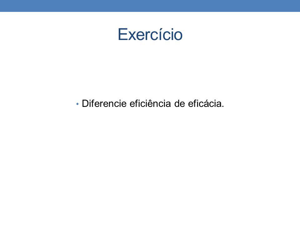 Exercício Diferencie eficiência de eficácia.