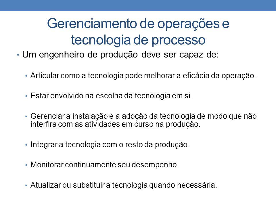 Gerenciamento de operações e tecnologia de processo Um engenheiro de produção deve ser capaz de: Articular como a tecnologia pode melhorar a eficácia da operação.
