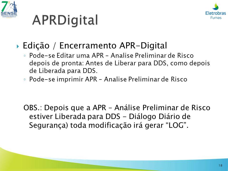 Edição / Encerramento APR-Digital Pode-se Editar uma APR – Analise Preliminar de Risco depois de pronta: Antes de Liberar para DDS, como depois de Lib