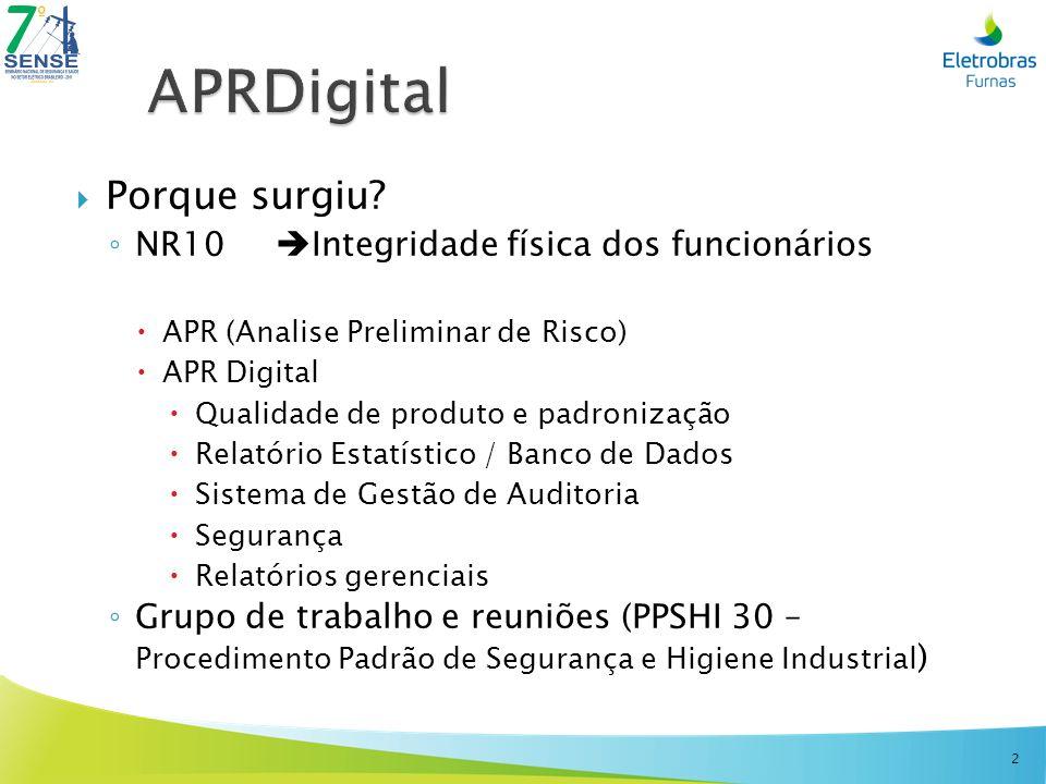 Dados importantes Arquivar documentos em papel Consecutivos APR – Analise Preliminar de Risco O número da APR é gerado automaticamente pelo aplicativo e vinculado à Divisão do solicitante.