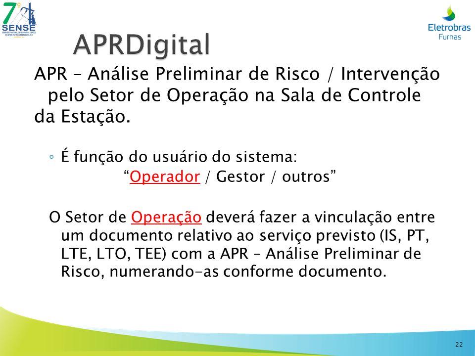 APR – Análise Preliminar de Risco / Intervenção pelo Setor de Operação na Sala de Controle da Estação. É função do usuário do sistema: Operador / Gest