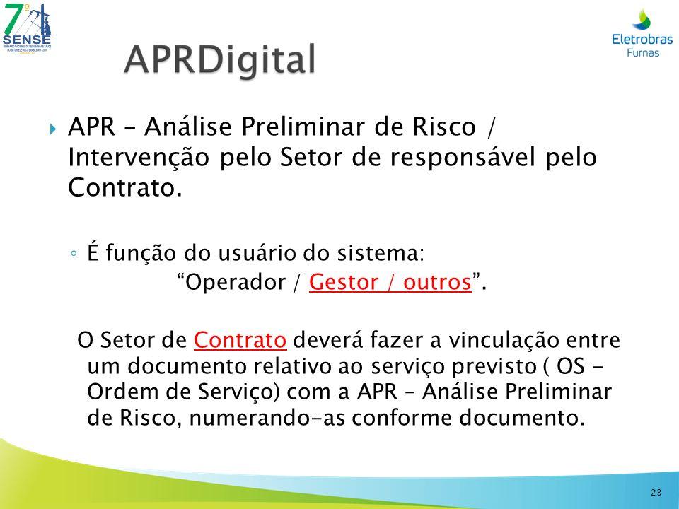 APR – Análise Preliminar de Risco / Intervenção pelo Setor de responsável pelo Contrato. É função do usuário do sistema: Operador / Gestor / outros. O