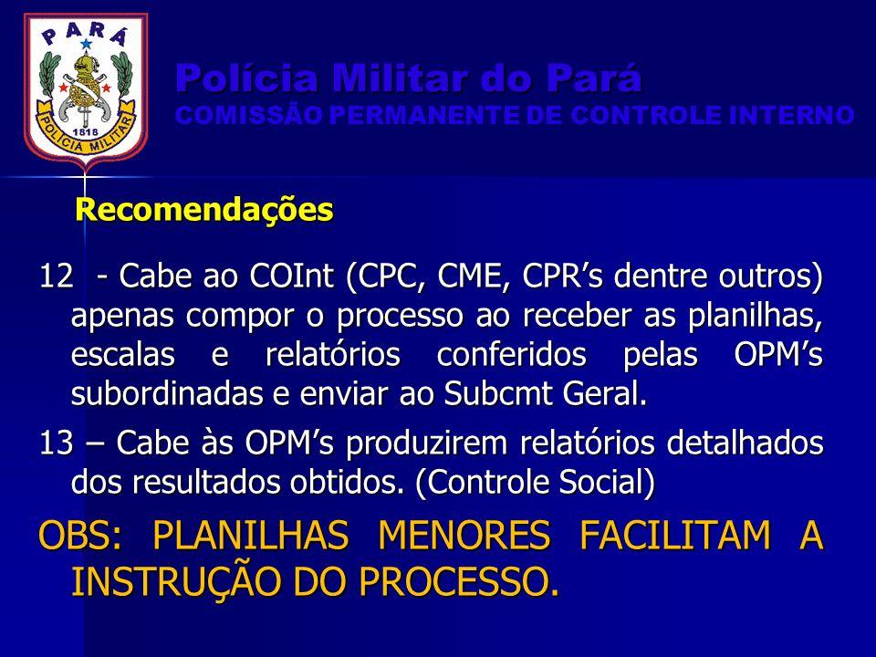 12 - Cabe ao COInt (CPC, CME, CPRs dentre outros) apenas compor o processo ao receber as planilhas, escalas e relatórios conferidos pelas OPMs subordinadas e enviar ao Subcmt Geral.