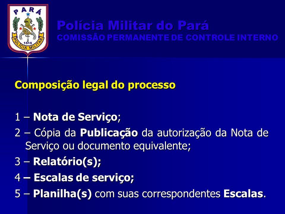 Composição legal do processo 1 – Nota de Serviço; 2 – Cópia da Publicação da autorização da Nota de Serviço ou documento equivalente; 3 – Relatório(s); 4 – Escalas de serviço; 5 – Planilha(s) com suas correspondentes Escalas.