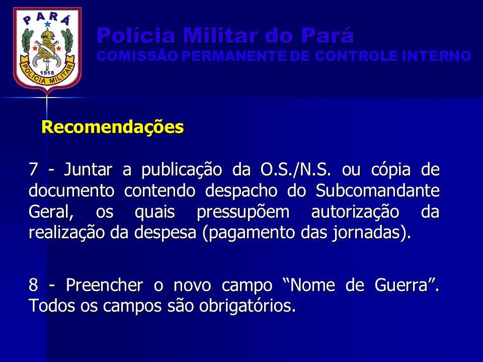 Recomendações 7 - Juntar a publicação da O.S./N.S.
