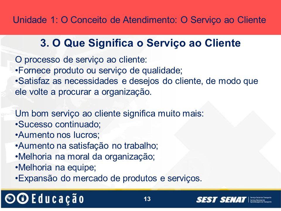 13 3. O Que Significa o Serviço ao Cliente Unidade 1: O Conceito de Atendimento: O Serviço ao Cliente O processo de serviço ao cliente: Fornece produt
