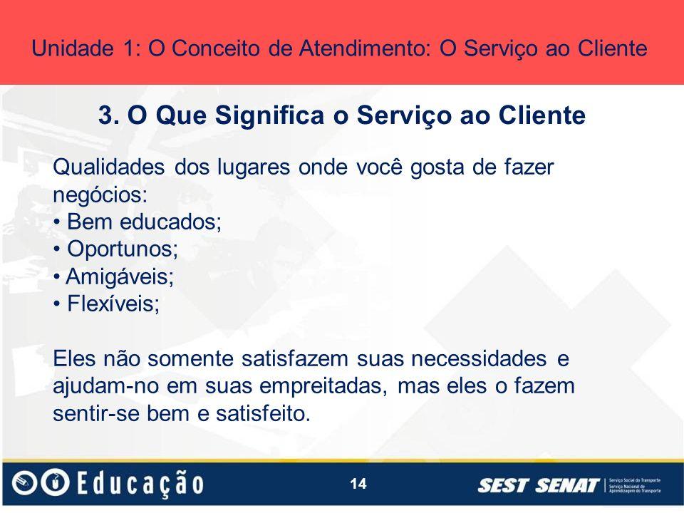 14 3. O Que Significa o Serviço ao Cliente Unidade 1: O Conceito de Atendimento: O Serviço ao Cliente Qualidades dos lugares onde você gosta de fazer