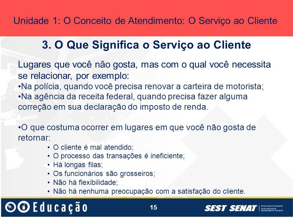 15 3. O Que Significa o Serviço ao Cliente Unidade 1: O Conceito de Atendimento: O Serviço ao Cliente Lugares que você não gosta, mas com o qual você