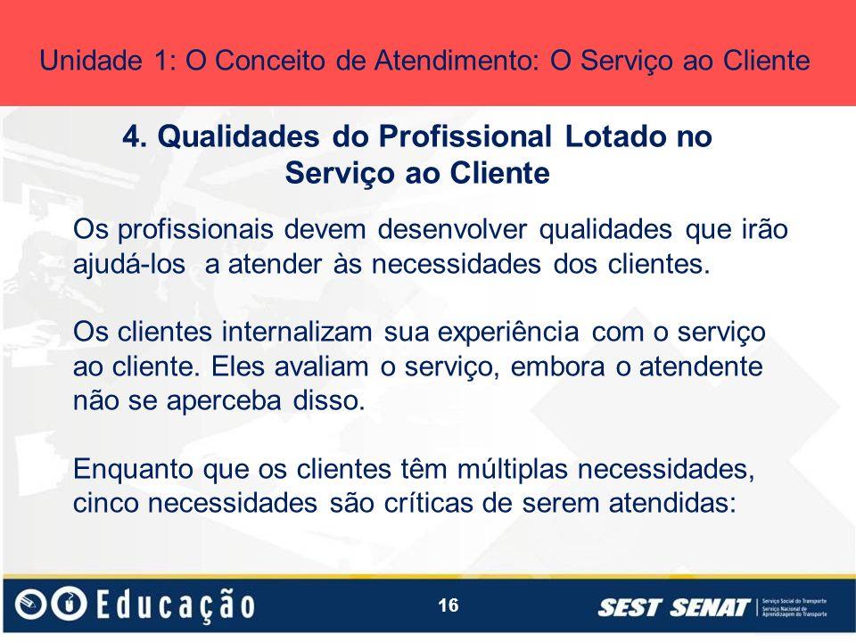 16 4. Qualidades do Profissional Lotado no Serviço ao Cliente Unidade 1: O Conceito de Atendimento: O Serviço ao Cliente Os profissionais devem desenv