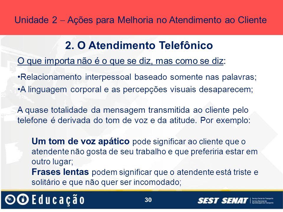 30 2. O Atendimento Telefônico Unidade 2 Ações para Melhoria no Atendimento ao Cliente O que importa não é o que se diz, mas como se diz: Relacionamen