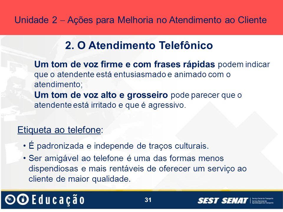 31 2. O Atendimento Telefônico Unidade 2 Ações para Melhoria no Atendimento ao Cliente Um tom de voz firme e com frases rápidas podem indicar que o at