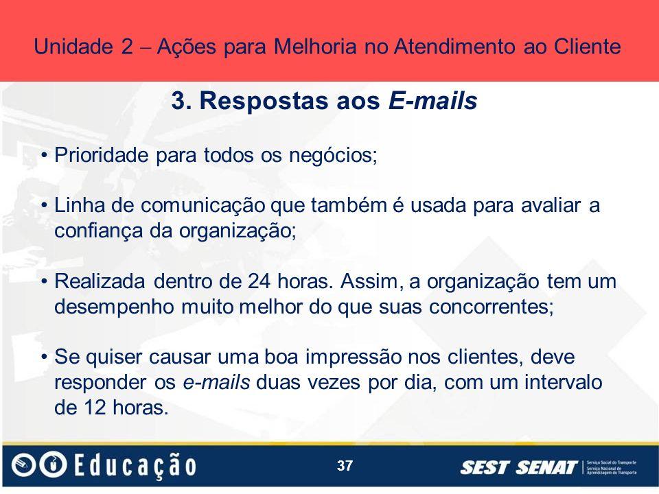 37 3. Respostas aos E-mails Unidade 2 Ações para Melhoria no Atendimento ao Cliente Prioridade para todos os negócios; Linha de comunicação que também