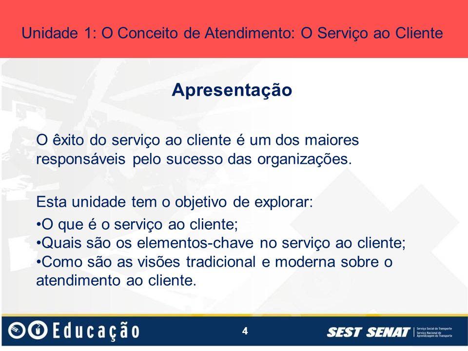 4 Apresentação Unidade 1: O Conceito de Atendimento: O Serviço ao Cliente O êxito do serviço ao cliente é um dos maiores responsáveis pelo sucesso das