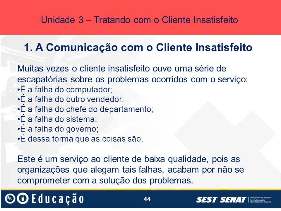 44 1. A Comunicação com o Cliente Insatisfeito Unidade 3 Tratando com o Cliente Insatisfeito Muitas vezes o cliente insatisfeito ouve uma série de esc