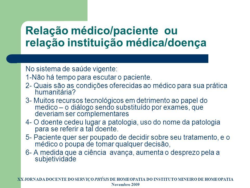 Relação médico/paciente ou relação instituição médica/doença No sistema de saúde vigente: 1-Não há tempo para escutar o paciente. 2- Quais são as cond