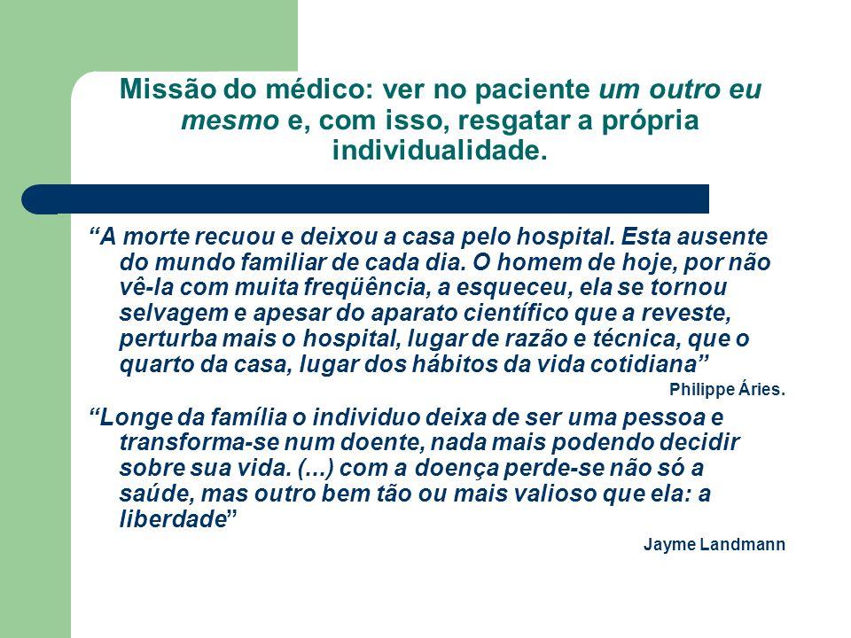 Missão do médico: ver no paciente um outro eu mesmo e, com isso, resgatar a própria individualidade. A morte recuou e deixou a casa pelo hospital. Est
