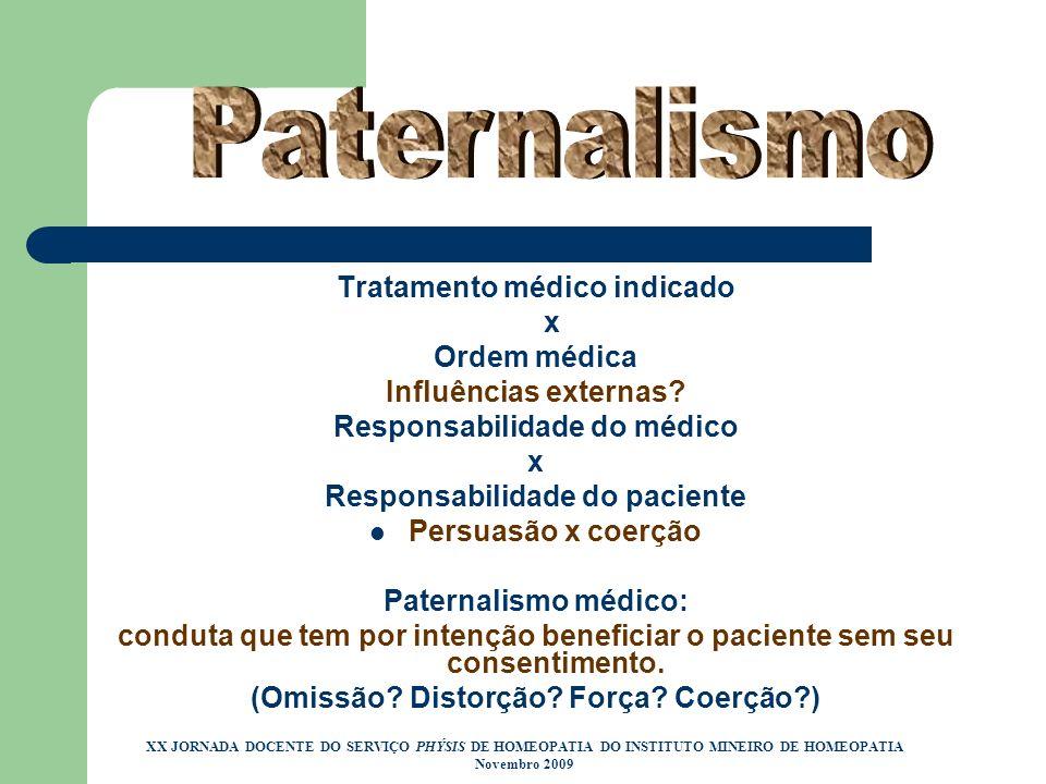 Tratamento médico indicado x Ordem médica Influências externas? Responsabilidade do médico x Responsabilidade do paciente Persuasão x coerção Paternal
