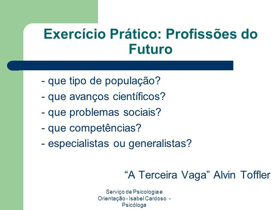 Exercício Prático: Profissões do Futuro - que tipo de população.