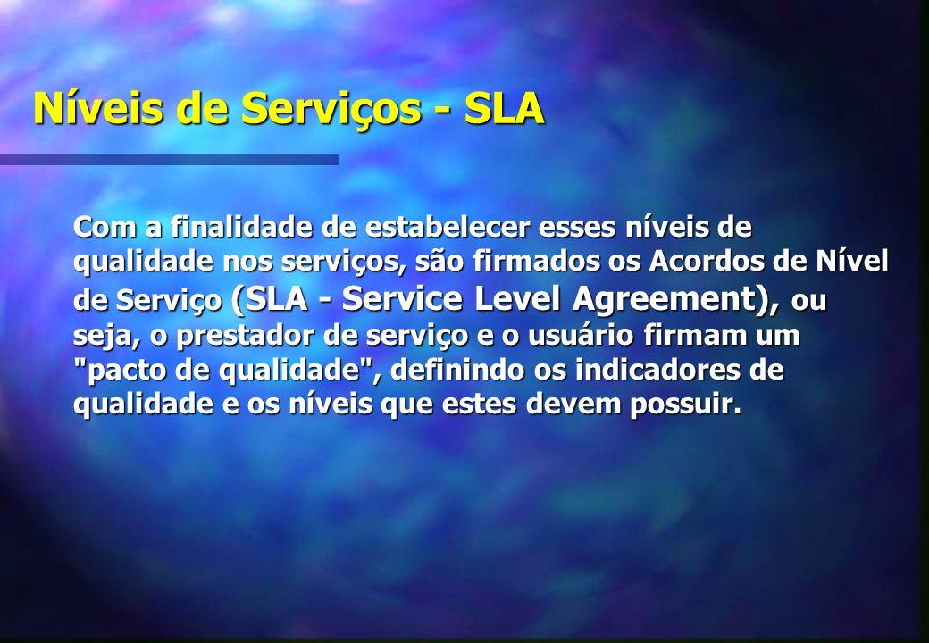 Níveis de Serviços - SLA Com a finalidade de estabelecer esses níveis de qualidade nos serviços, são firmados os Acordos de Nível de Serviço (SLA - Service Level Agreement), ou seja, o prestador de serviço e o usuário firmam um pacto de qualidade , definindo os indicadores de qualidade e os níveis que estes devem possuir.