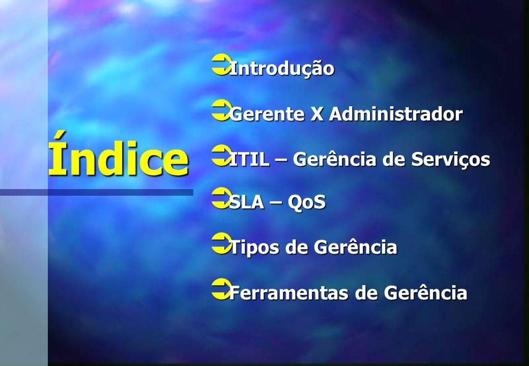 Índice Introdução Introdução Gerente X Administrador Gerente X Administrador ITIL – Gerência de Serviços ITIL – Gerência de Serviços SLA – QoS SLA – QoS Tipos de Gerência Tipos de Gerência Ferramentas de Gerência Ferramentas de Gerência