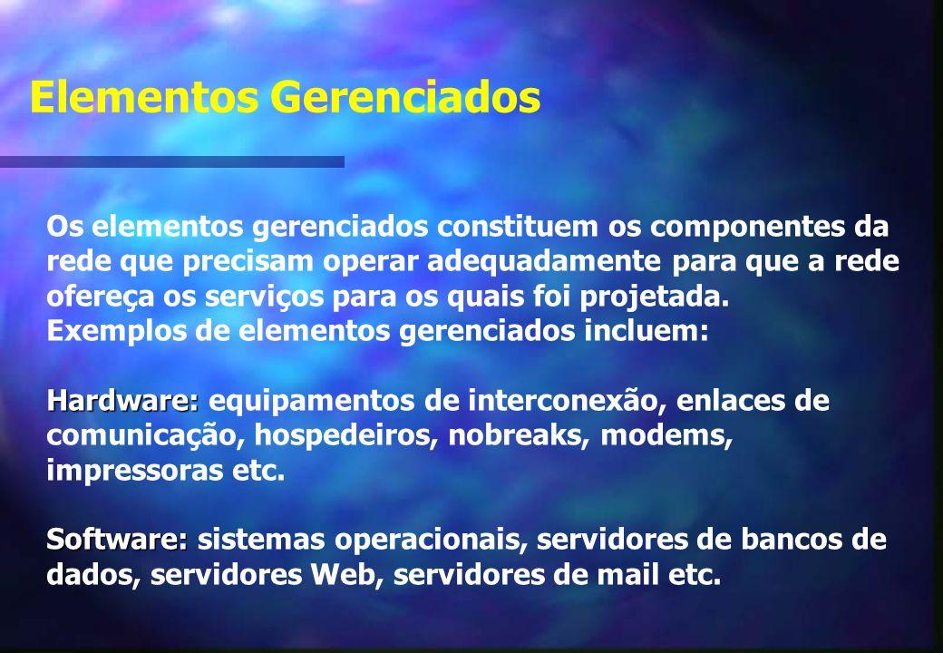 Os elementos gerenciados constituem os componentes da rede que precisam operar adequadamente para que a rede ofereça os serviços para os quais foi projetada.