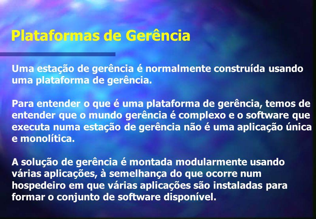 Plataformas de Gerência Uma estação de gerência é normalmente construída usando uma plataforma de gerência.