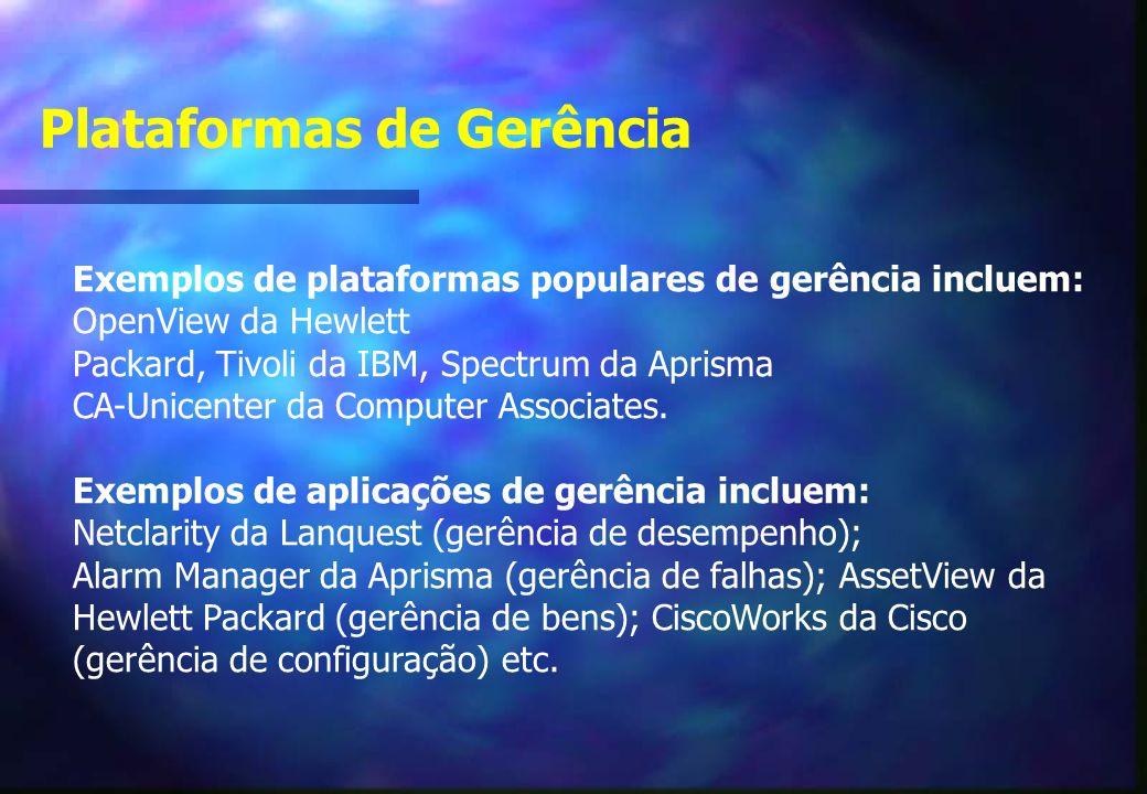 Exemplos de plataformas populares de gerência incluem: OpenView da Hewlett Packard, Tivoli da IBM, Spectrum da Aprisma CA-Unicenter da Computer Associates.