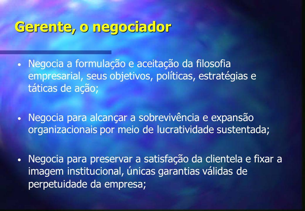 Gerente, o negociador Negocia a formulação e aceitação da filosofia empresarial, seus objetivos, políticas, estratégias e táticas de ação; Negocia para alcançar a sobrevivência e expansão organizacionais por meio de lucratividade sustentada; Negocia para preservar a satisfação da clientela e fixar a imagem institucional, únicas garantias válidas de perpetuidade da empresa;