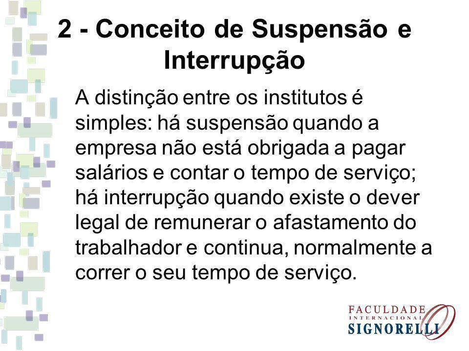 2 - Conceito de Suspensão e Interrupção A distinção entre os institutos é simples: há suspensão quando a empresa não está obrigada a pagar salários e