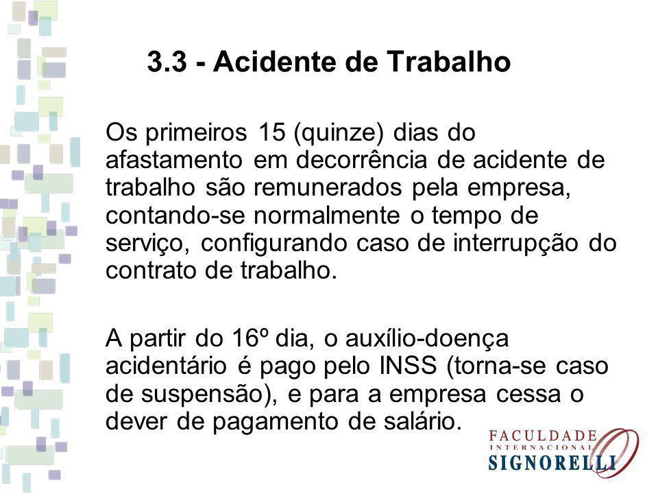 3.3 - Acidente de Trabalho Os primeiros 15 (quinze) dias do afastamento em decorrência de acidente de trabalho são remunerados pela empresa, contando-