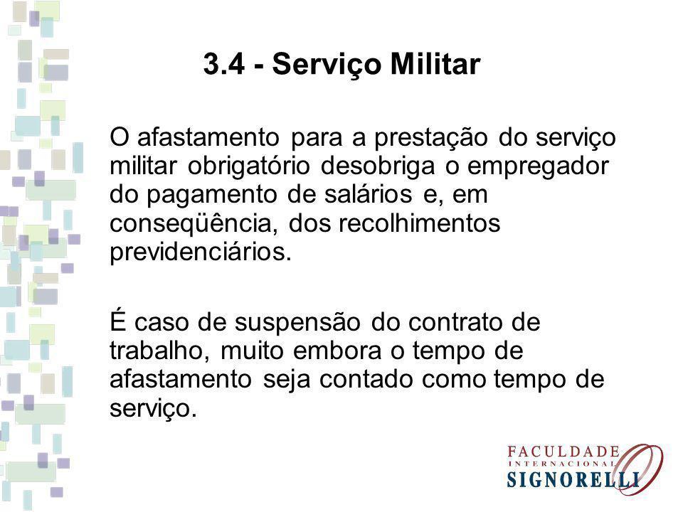 3.4 - Serviço Militar O afastamento para a prestação do serviço militar obrigatório desobriga o empregador do pagamento de salários e, em conseqüência