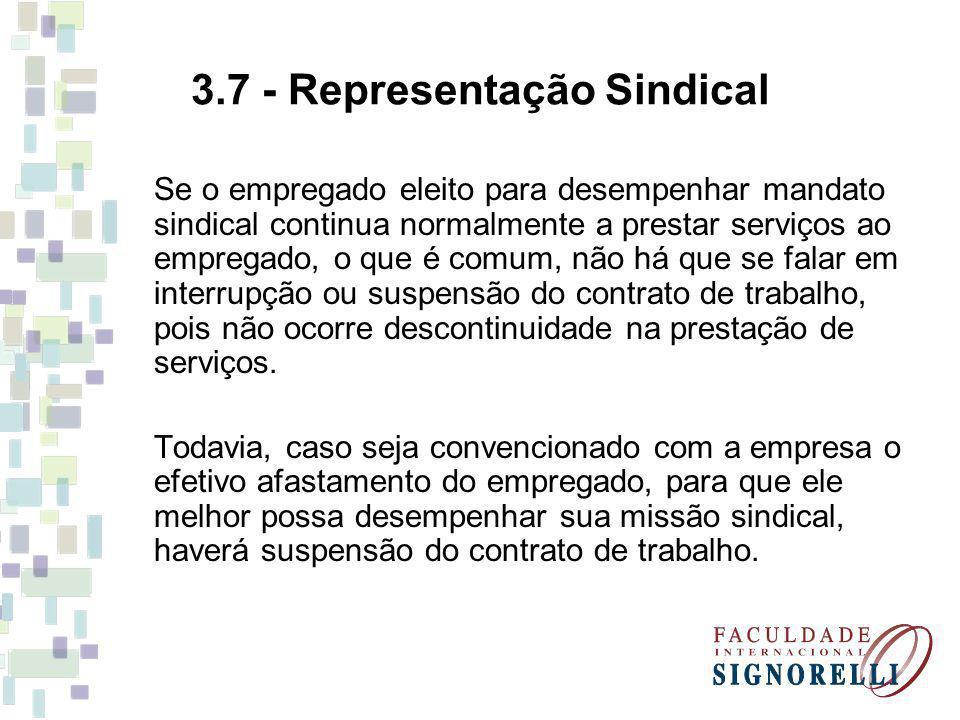 3.7 - Representação Sindical Se o empregado eleito para desempenhar mandato sindical continua normalmente a prestar serviços ao empregado, o que é com