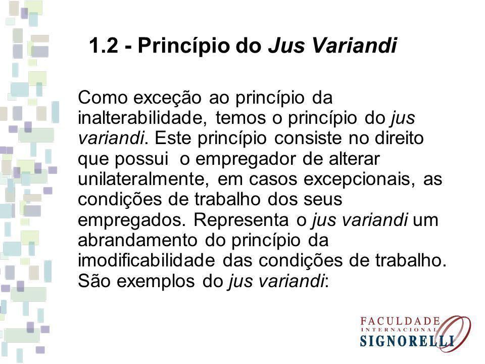 1.2 - Princípio do Jus Variandi Como exceção ao princípio da inalterabilidade, temos o princípio do jus variandi. Este princípio consiste no direito q