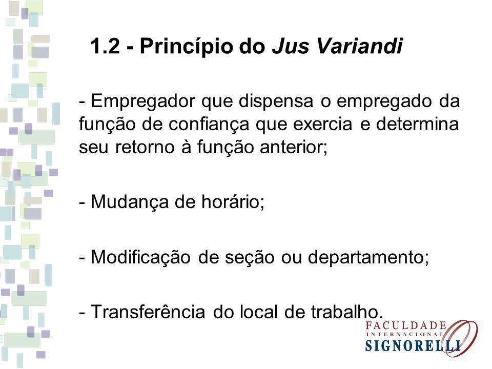 1.2 - Princípio do Jus Variandi - Empregador que dispensa o empregado da função de confiança que exercia e determina seu retorno à função anterior; -