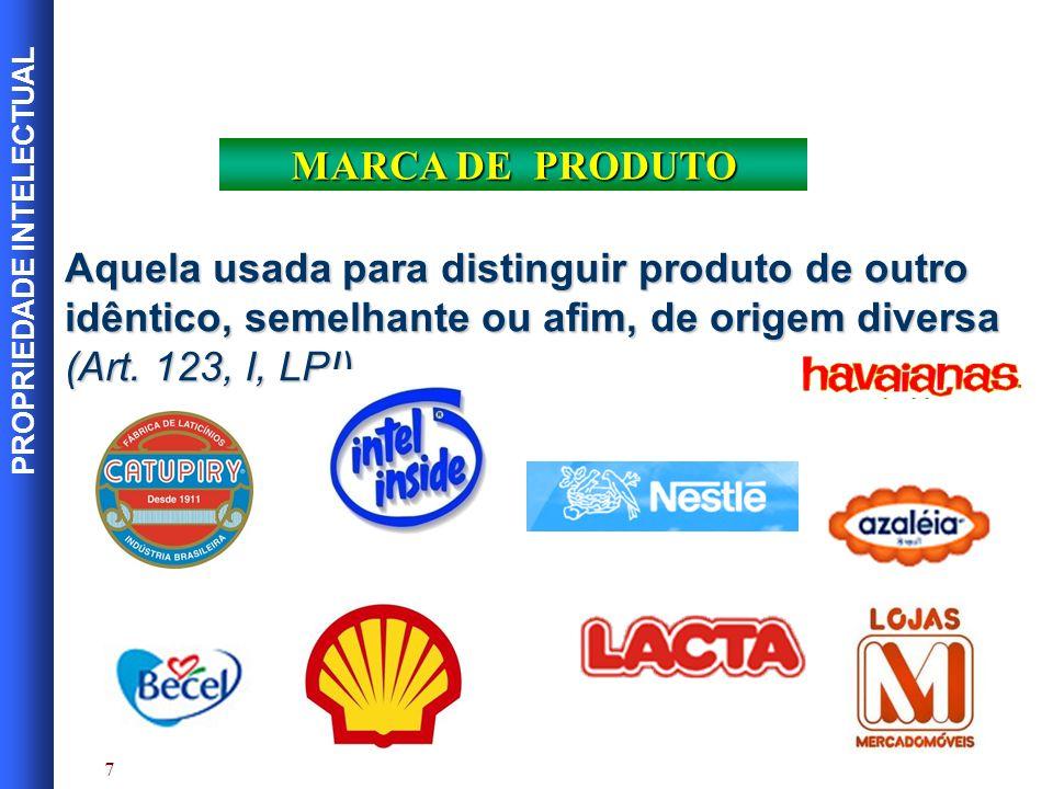 PROPRIEDADE INTELECTUAL 8 MARCA DE SERVIÇO Aquela usada para distinguir serviço de outro idêntico, semelhante ou afim, de origem diversa (Art.
