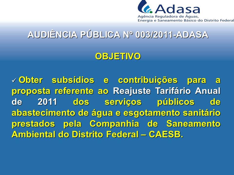 AUDIÊNCIA PÚBLICA Nº 003/2011-ADASA OBJETIVO Obter subsídios e contribuições para a proposta referente ao Reajuste Tarifário Anual de 2011 dos serviço