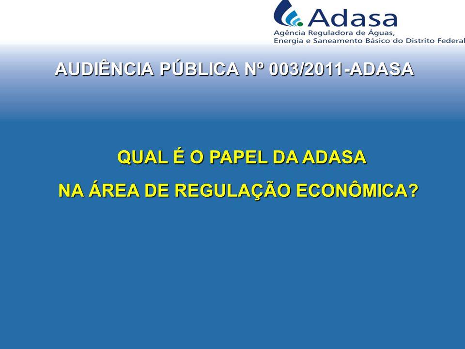 AUDIÊNCIA PÚBLICA Nº 003/2011-ADASA QUAL É O PAPEL DA ADASA QUAL É O PAPEL DA ADASA NA ÁREA DE REGULAÇÃO ECONÔMICA.