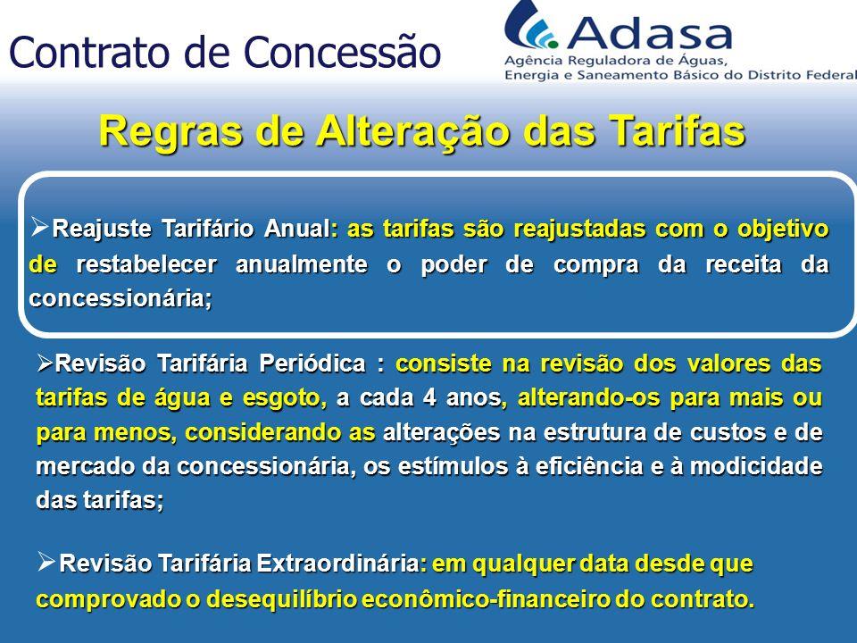 Reajuste Tarifário Anual: as tarifas são reajustadas com o objetivo de restabelecer anualmente o poder de compra da receita da concessionária; Revisão